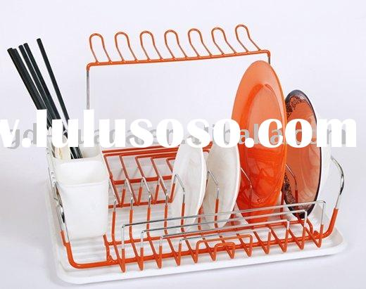 Steel Wire Dish Rack, chrome and PVC coated dish rack , metal dish rack