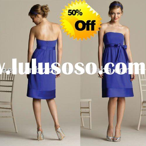 Style RZ-bd053 wholesale strapless knee length satin and chiffon navy blue bridesmaid dresses