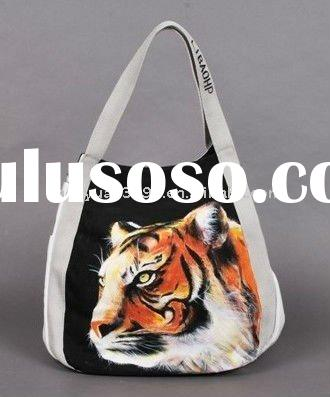 Tiger Printed Canvas Beach Bag