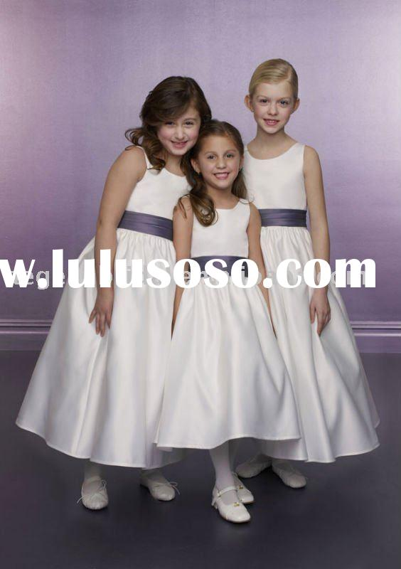 Top popular scoop ivory satin purple sash flower girl dress A2550