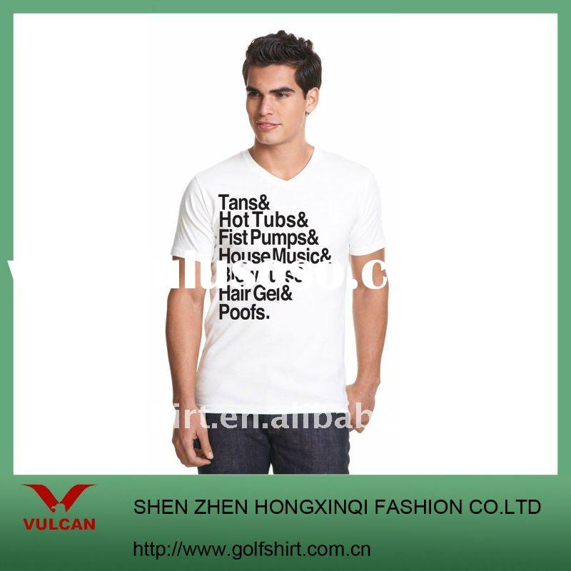 Vintage plain v-neck white t shirts design for men