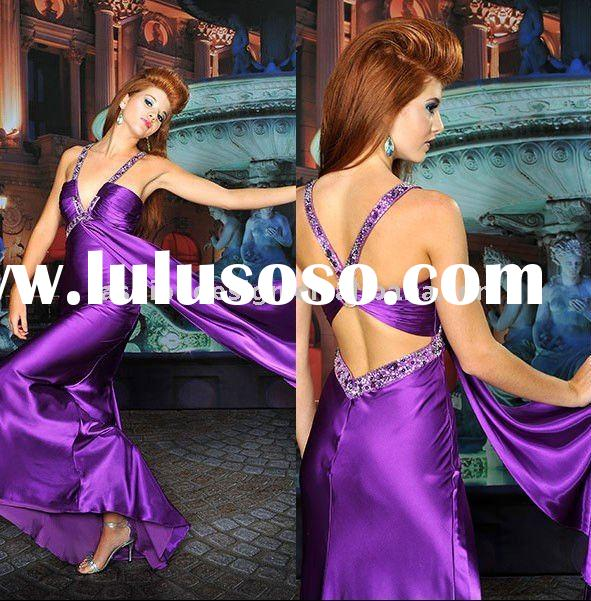 WF017 New style beautiful backless satin party dress prom dress arabic evening dresses