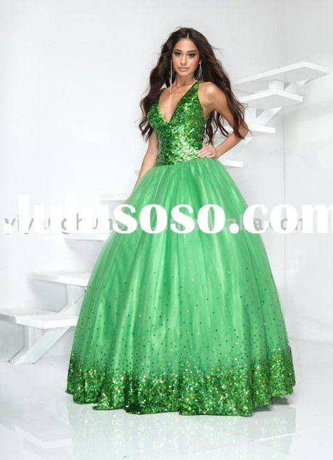 Western style sequins top ball gown evening gown