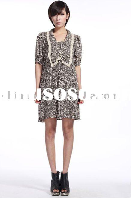 [db2418] wholesale! retail! newest fashion spot lace v-neck loose design short sleeve lady dress