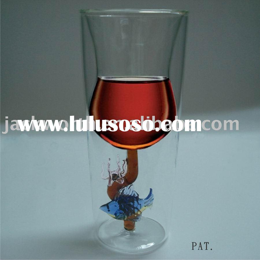 art deco - Double Wall Wine Glass - Coral Fish