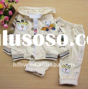 baby outfit grid cloth car bear pattern three-piece set