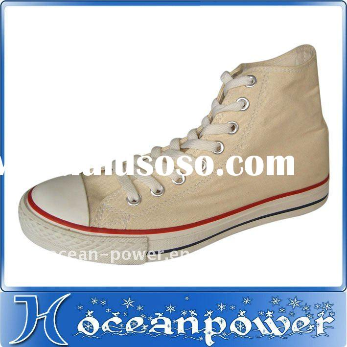beige high top canvas shoes
