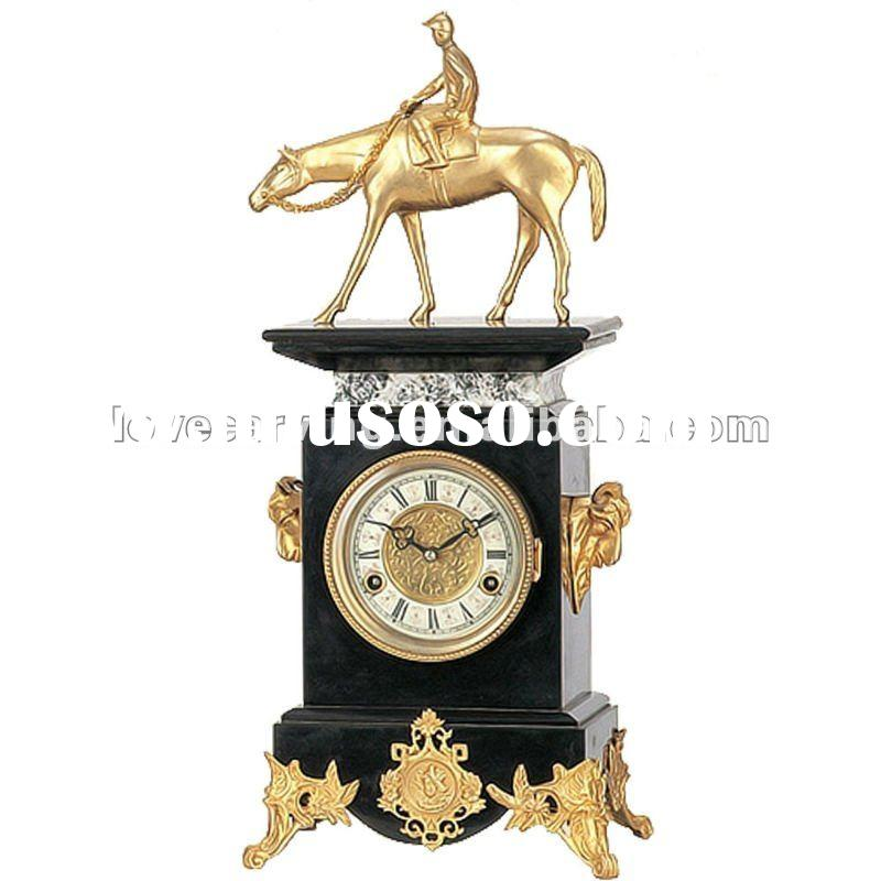 bronze and marble antique clock