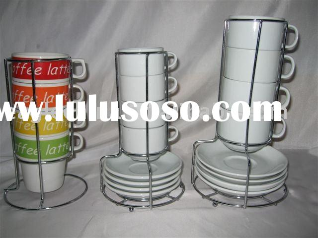 coffee cup and saucer with metal rack