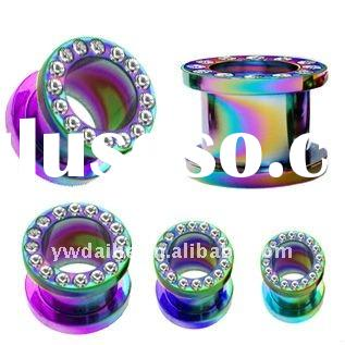 colorful tainbow twinking crystal titanium tunnel piercing ear lobe plug/ exquisite body jewelry DHb