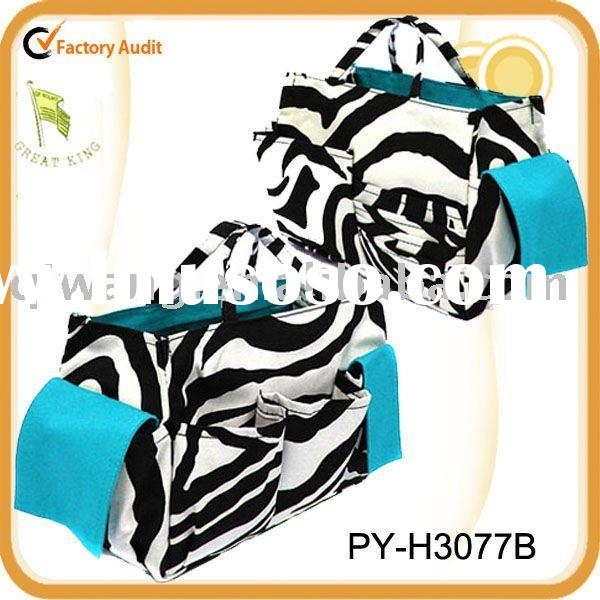 fashion ladies' zebra canvas handbag storage organizer