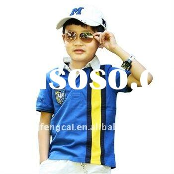 fashionable short sleeve boy's polo shirt with print or embroidery