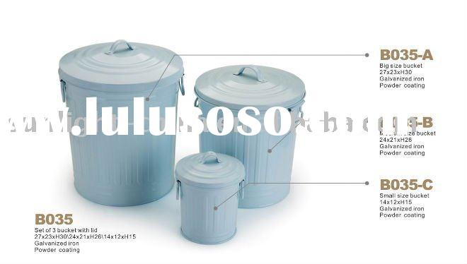 galvanized metal bucket with lid