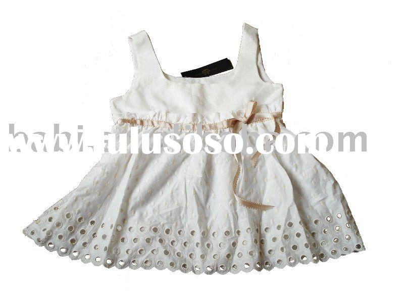 girls party Dress made with cotton without sleeve in white