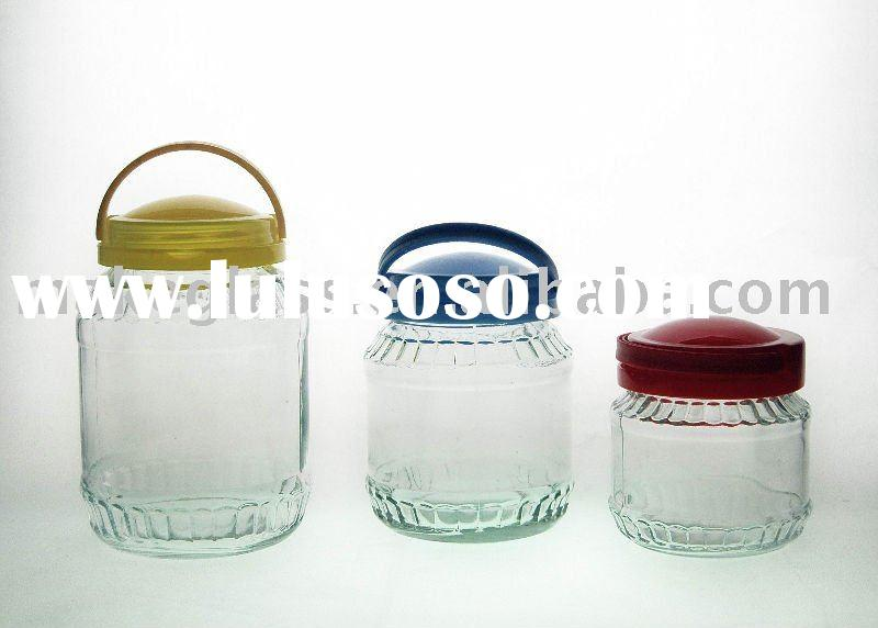 glass jar with colored plastic lid