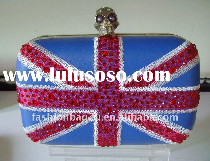 hard case clutch bags british flag evening bag/box clutch with skull head