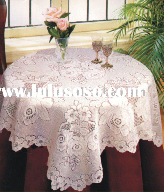 jacquard polyester round embroidery table cloth
