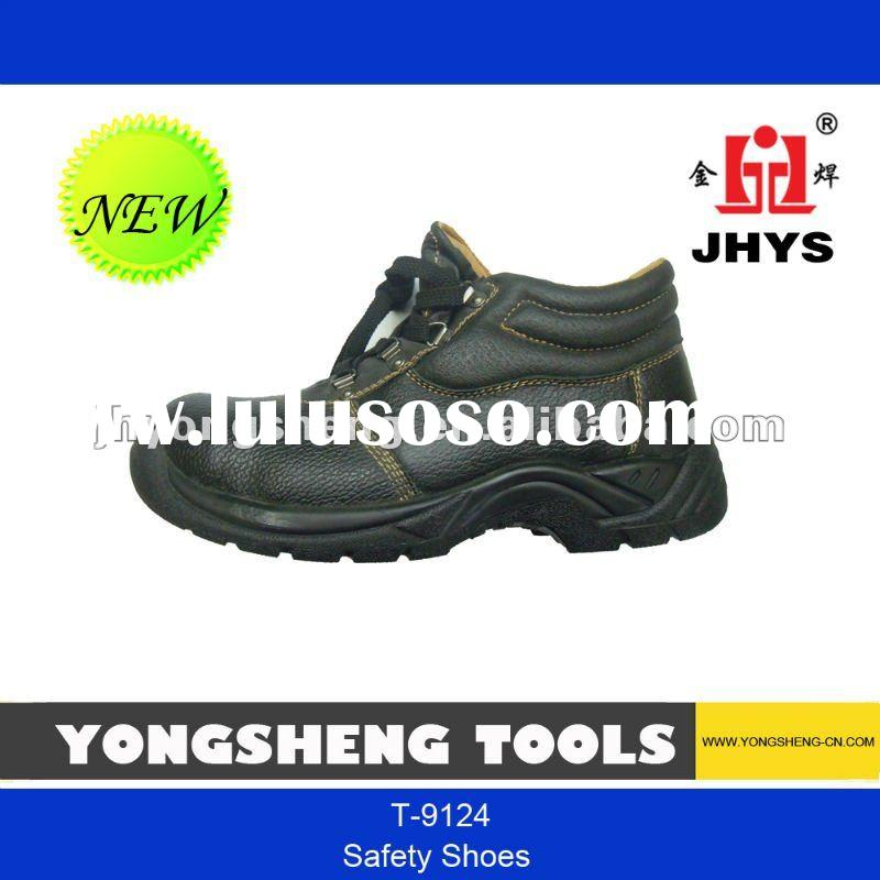 leather and steel toe work safety shoes