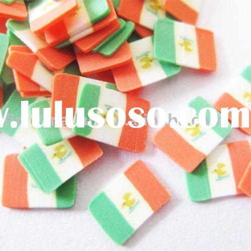 nail art sticker, polymer clay flower, mexico flag design
