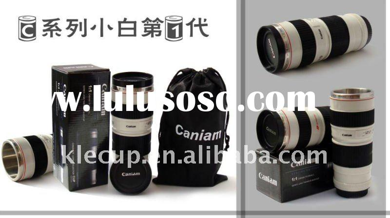 new design stainless steel + ABS lens coffee mug