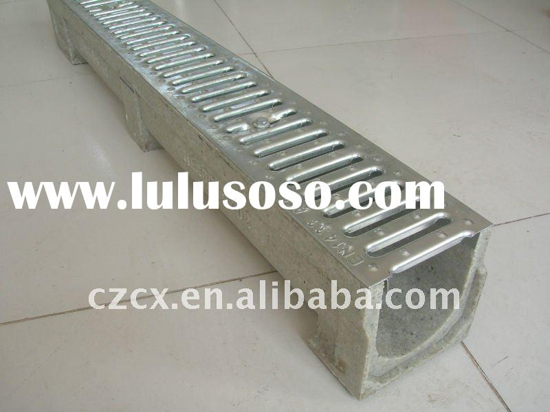 polymer concrete resin channel drain trench with mild steel hot galvanized grating SUS grating