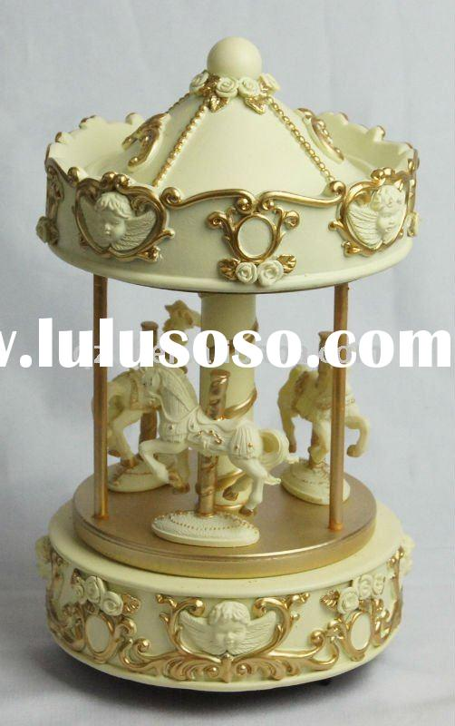 polyresin carousel music box for baby shower gifts