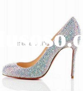 red heels low heel shoes / crystal flat women shoes