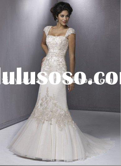 romantic slim A-line silhouette , lace cap-sleeve applique beading wedding dress MA-105