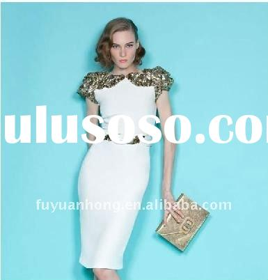 sequins puffy sleeve fancy womanclothes/ party dresses new fashion 2011 /SE01