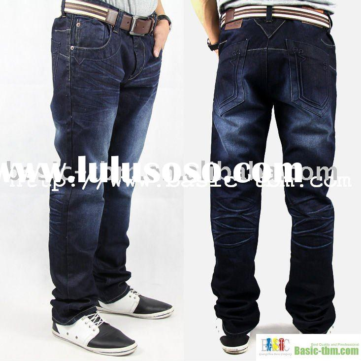 100%Cotton Washed Men's Blue Korean Jeans