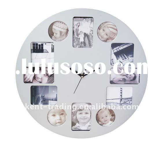 12 pictures plastic photo frame wall clock and paypal will be ok