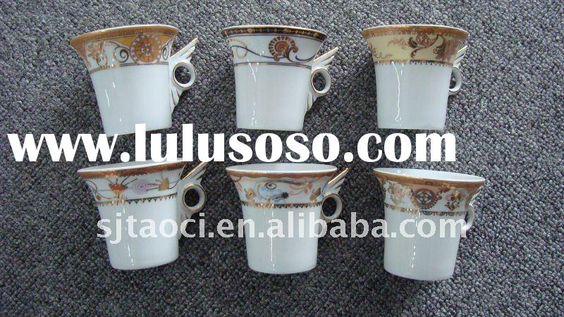 12pcs Half porcelain coffee cup and saucer,Hard antiques ceramic plates tableware