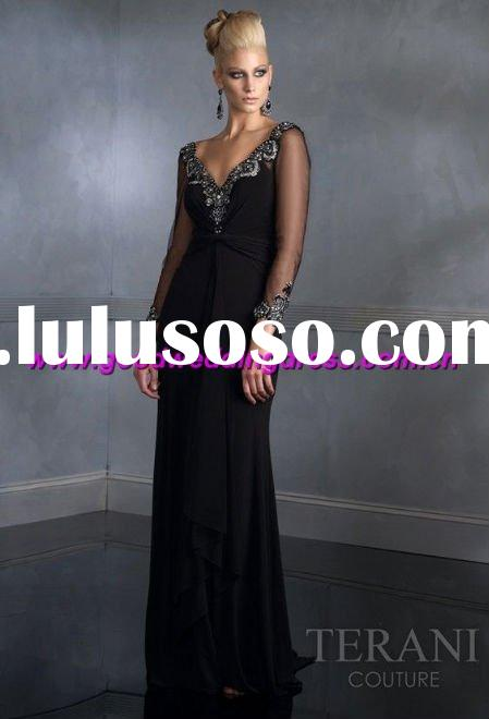 2011 New style beaded Elegant long sleeve good quality lace Evening Dress/Party Dress/Prom Dress
