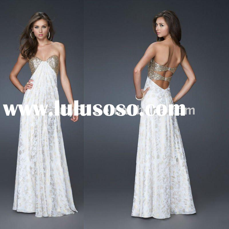 2011 new style long prom dress white prom dress vintage prom dress fancy party dress chiffon evening