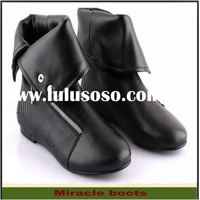 2011 new zip ankle women leather boots flat