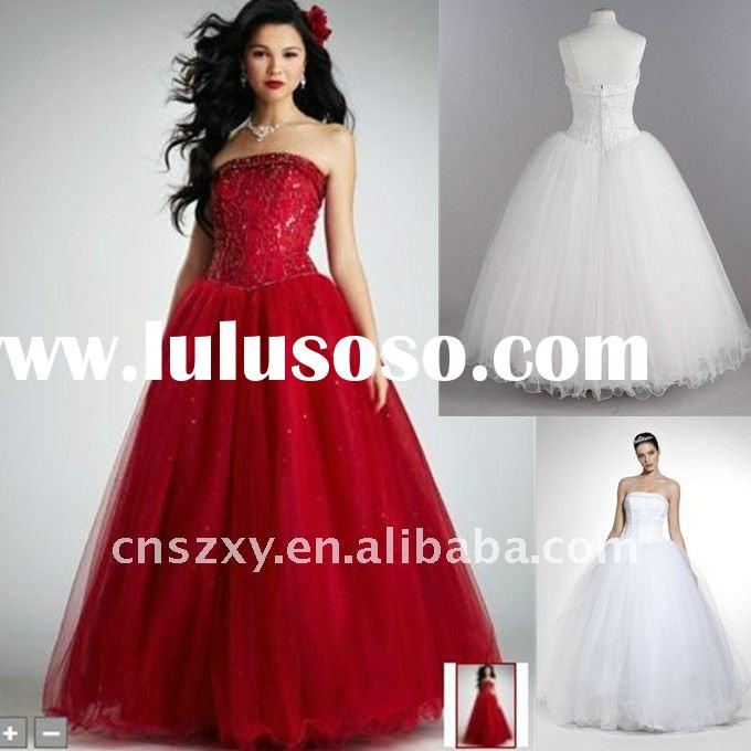 2012 Factory Hot Sell High Quality A-line Strapless Heavy Beaded Tulle Sequin Red Wedding Dresses