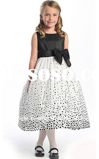 2012 Pretty Black Polka Dot Flower Girl Dress