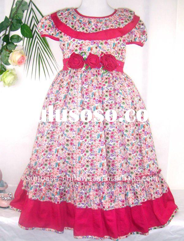 2012 fashion full frocks for children,girls ruffly flower frocks