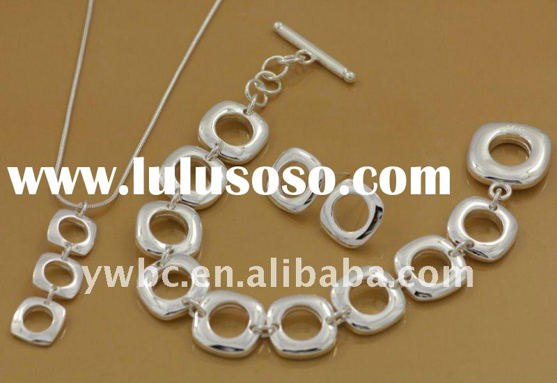 2012 silver wholesale necklace earring and bracelet jewelry set(T100043)