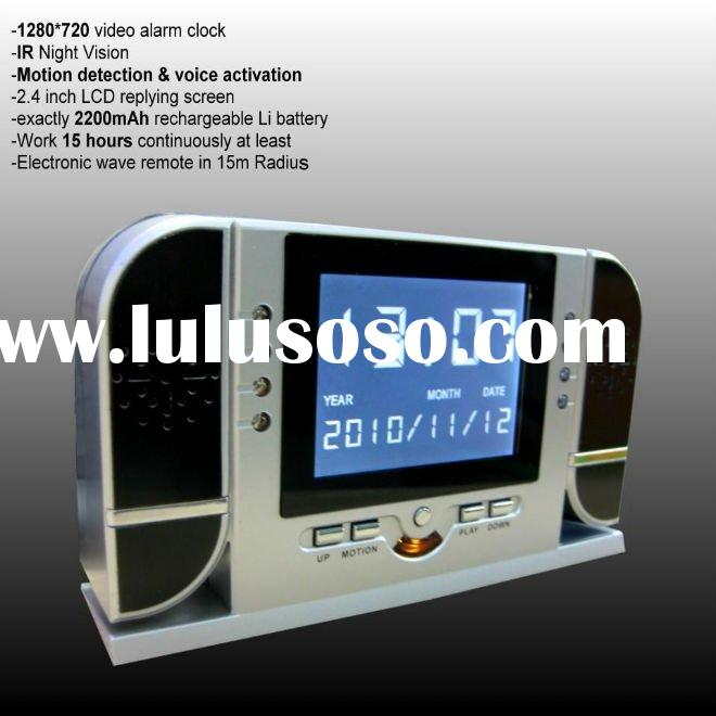 "2.4"" LCD replaying screen IR Night Vision Alarm table DVR Clock with motion detection & sou"