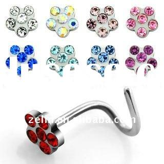 316L stainless steel flower nose ring body piercing jewelry