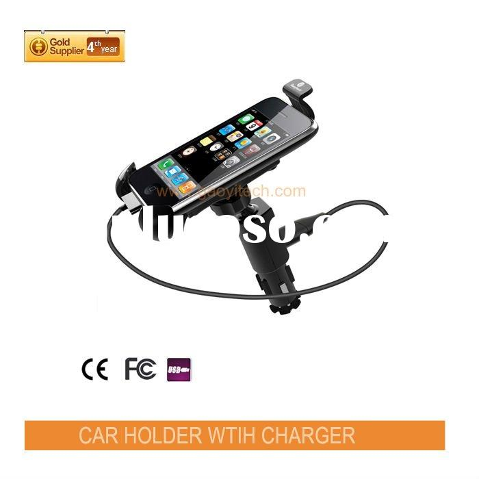 360 degrees rotation Non-slip feet mobile phone holder for car with quick speed USB car charger and