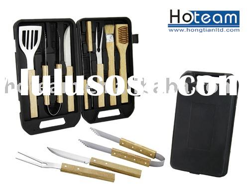 8 pc BBQ set with wood handle/bbq utensil