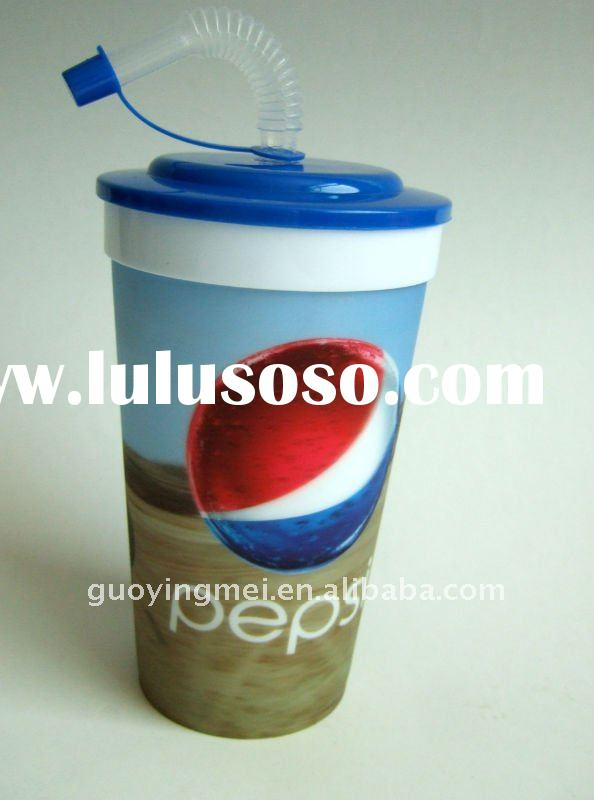 950ml plastic Lenticular tumbler cup with straw