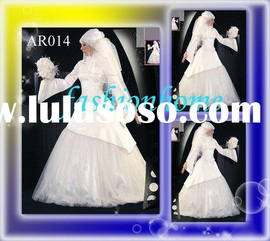 AR014 seductive muslim wedding dress Arab wedding dress Islamic wedding dress free veil white