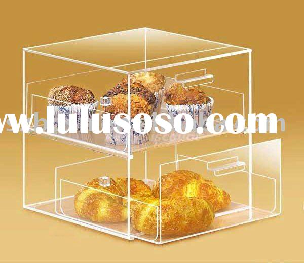 Acrylic bakery display, Perspex bread case, Plexiglass cupcake stand;