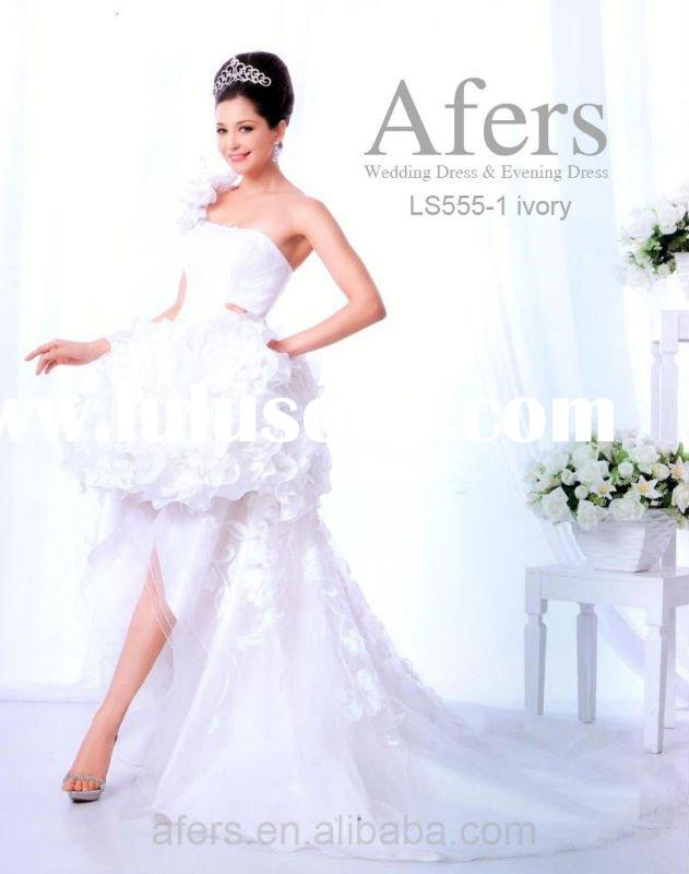 Afers front short with long train wedding dress NO.LS555-1