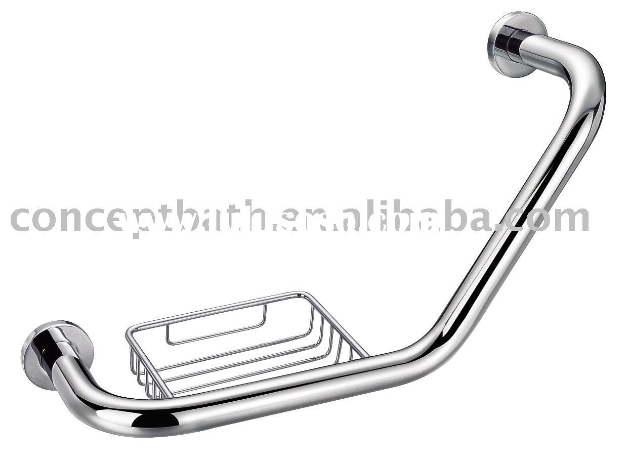Bath grab bar with soap dish; grab rail; handrail grab holder