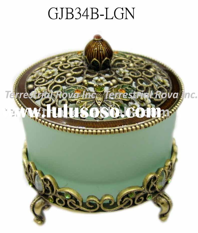 Beautiful hand made glass jewel box metal trinket box for ladies decorative jewelry box for collecti