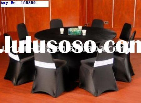 Black Spandex Chair Covers With White Bands (UT-A-10080903)